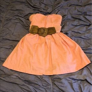 Body Central Pink Dress with Brown Belt Small